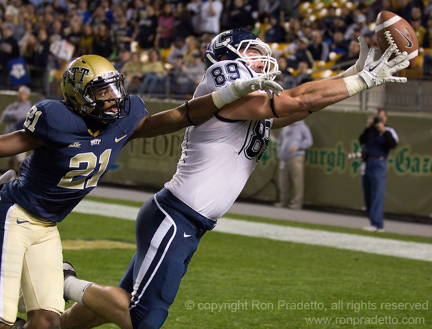 Pitt defensive back Buddy Jackson (21) breaks up a pass intended for UConn tight end John Delahunt. The Pittsburgh Panthers beat the UCONN Huskies 35-20 at Heinz field in Pittsburgh, Pennsylvania on October 26, 2011.