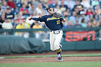 Michigan Wolverines third baseman Blake Nelson (10) makes a throw to first base against the Vanderbilt Commodores during Game 3 of the NCAA College World Series Finals on June 26, 2019 at TD Ameritrade Park in Omaha, Nebraska. Vanderbilt defeated Michigan 8-2 to win the National Championship. (Andrew Woolley/Four Seam Images)