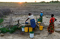 ZAMBIA, Mazabuka, Chikankata area, medium scale farmer Stephen Chinyama, homestead, women fetch water from well at dusk
