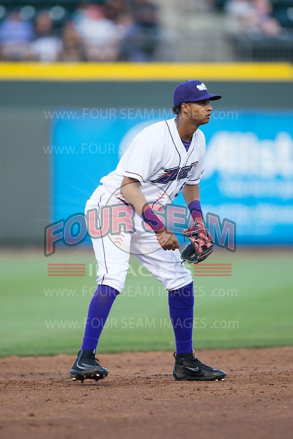 Winston-Salem Dash shortstop Johan Cruz (5) on defense against the Buies Creek Astros at BB&T Ballpark on April 15, 2017 in Winston-Salem, North Carolina.  The Astros defeated the Dash 13-6.  (Brian Westerholt/Four Seam Images)
