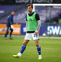20th March 2021; Liberty Stadium, Swansea, Glamorgan, Wales; English Football League Championship Football, Swansea City versus Cardiff City; Tom Sang of Cardiff City during warm up