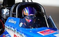 Feb. 18, 2012; Chandler, AZ, USA; NHRA top fuel dragster driver Mike Strasburg during qualifying for the Arizona Nationals at Firebird International Raceway. Mandatory Credit: Mark J. Rebilas-