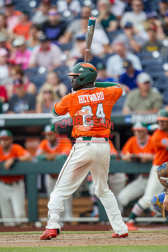 Miami Hurricanes outfielder Jacob Hayward (24) at bat against the UC Santa Barbara Gauchos in Game 5 of the NCAA College World Series on June 20, 2016 at TD Ameritrade Park in Omaha, Nebraska. UC Santa Barbara defeated Miami  5-3. (Andrew Woolley/Four Seam Images)