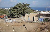 Pictured: Builders rebuilding the extension of the farmhouse where Ben Needham disappeared from in Kos, Greece. Thursday 13 October 2016<br />Re: Police teams led by South Yorkshire Police are searching for missing toddler Ben Needham on the Greek island of Kos.<br />Ben, from Sheffield, was 21 months old when he disappeared on 24 July 1991 during a family holiday.<br />Digging has begun at a new site after a fresh line of inquiry suggested he could have been crushed by a digger.