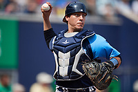 Trenton Thunder catcher Chris Rabago (26) throws to first base to complete the out after a dropped third strike during a game against the Hartford Yard Goats on August 26, 2018 at Dunkin' Donuts Park in Hartford, Connecticut.  Trenton defeated Hartford 8-3.  (Mike Janes/Four Seam Images)
