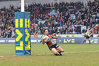 20130309 Copyright onEdition 2013©.Free for editorial use image, please credit: onEdition..Tom Guest of Harlequins  dives over the line to score a try during the LV= Cup semi final match between Harlequins and Bath Rugby at The Twickenham Stoop on Saturday 9th March 2013 (Photo by Rob Munro)..For press contacts contact: Sam Feasey at brandRapport on M: +44 (0)7717 757114 E: SFeasey@brand-rapport.com..If you require a higher resolution image or you have any other onEdition photographic enquiries, please contact onEdition on 0845 900 2 900 or email info@onEdition.com.This image is copyright onEdition 2013©..This image has been supplied by onEdition and must be credited onEdition. The author is asserting his full Moral rights in relation to the publication of this image. Rights for onward transmission of any image or file is not granted or implied. Changing or deleting Copyright information is illegal as specified in the Copyright, Design and Patents Act 1988. If you are in any way unsure of your right to publish this image please contact onEdition on 0845 900 2 900 or email info@onEdition.com