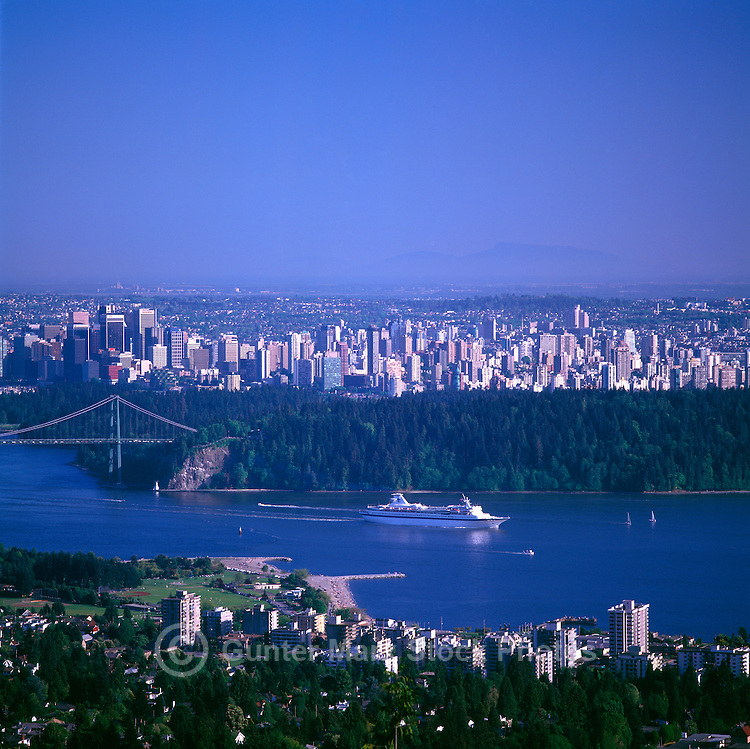 Cruise Ship, en route to Alaska, leaving Vancouver Harbour, Vancouver, British Columbia, Canada