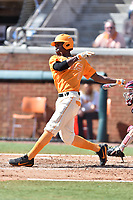 Tennessee Volunteers center fielder Brodie Leftridge (1) swings at a pitch during a game against the South Carolina Gamecocks at Lindsey Nelson Stadium on March 18, 2017 in Knoxville, Tennessee. The Gamecocks defeated Volunteers 6-5. (Tony Farlow/Four Seam Images)
