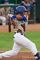 Jesmuel Valentin (9) of the Ogden Raptors at bat against the Great Falls Voyagers at Lindquist Field on August 16, 2013 in Ogden Utah. Military Appreciation Night saw the Raptors take the field in camouflage uniforms. (Stephen Smith/Four Seam Images)