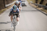 race leaders Diego Rosa (ITA/Sky) & Nico Denz (DEU/AG2R-La Mondiale) tucked for speed<br /> <br /> 13th Strade Bianche 2019 (1.UWT)<br /> One day race from Siena to Siena (184km)<br /> <br /> ©kramon