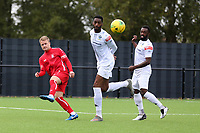 Mitchell Gilbey of Aveley and Erijo Okosieme of Romford during Romford vs Aveley, Pitching In Ishmian League North Division Football at Mayesbrook Park on 26th September 2020