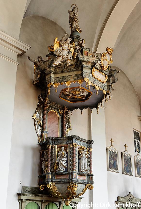 Kanzel in der Franziskanerkirche, Miltenberg in Unterfranken, Bayern, Deutschland