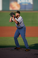 Bradenton Marauders starting pitcher A.J. Schugel (50) gets ready to deliver a pitch during a game against the Lakeland Flying Tigers on April 12, 2018 at Publix Field at Joker Marchant Stadium in Lakeland, Florida.  Bradenton defeated Lakeland 5-4.  (Mike Janes/Four Seam Images)