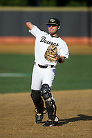 Wake Forest Demon Deacons catcher Logan Harvey (15) warms-up prior to the game against the West Virginia Mountaineers in Game Four of the Winston-Salem Regional in the 2017 College World Series at David F. Couch Ballpark on June 3, 2017 in Winston-Salem, North Carolina.  The Demon Deacons walked-off the Mountaineers 4-3.  (Brian Westerholt/Four Seam Images)