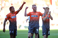 Swansea City's Martin Olsson, Oli McBurnie and Jay Fulton applauds the fans at the final whistle during the Sky Bet Championship match between Sheffield United and Swansea City at Bramall Lane, Sheffield, England, UK. Saturday 04 August 2018
