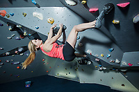 Shauna Coxsey trains at the Climbing Hangar, Liverpool, United Kingdom on January 19, 2016