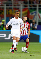 Calcio, finale di Champions League: Real Madrid vs Atletico Madrid. Stadio San Siro, Milano, 28 maggio 2016.<br /> Real Madrid's Cristiano Ronaldo, left, is chased by Atletico Madrid Juanfran during the Champions League final match between Real Madrid and Atletico Madrid, at Milan's San Siro stadium, 28 May 2016.<br /> UPDATE IMAGES PRESS/Isabella Bonotto