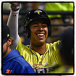 No. 4 MLB.com New York #Mets prospect and Round 2 draft pick Mark Vientos (13) of the Columbia Fireflies is greeted after scoring a run in his Class A debut on Thursday, April 4, 2019, at Segra Park in Columbia, South Carolina. Charleston won, 2-1. (Tom Priddy/Four Seam Images)