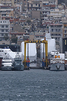 Border Control vessel HMC Valiant (2nd L) by a shipyard in the Perama area of Piraeus, Greece. Thursday 03 January 2019
