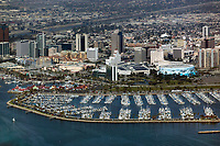 aerial photograph of Long Beach, Los Angeles County, California; Long Beach Shoreline Marina in the foreground; Long Beach Convention and Entertainment Center and Long Beach skyline in the middleground.