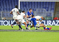 31st October 2020, Olimpico Stadium, Rome, Italy; Six Nations International Rugby Union, Italy versus England;  Mattia Bellini (Italy) makes the tackle