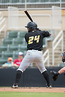 Alexis Bastardo (24) of the West Virginia Power at bat against the Kannapolis Intimidators at Kannapolis Intimidators Stadium on June 18, 2017 in Kannapolis, North Carolina.  The Intimidators defeated the Power 5-3 to win the South Atlantic League Northern Division first half title.  It is the first trip to the playoffs for the Intimidators since 2009.  (Brian Westerholt/Four Seam Images)