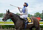 Alternation (no. 6), ridden by Ramon Dominguez and trained by D.K. Von Hemel, wins the  57th running of the grade 2 Peter Pan Stakes for three year olds on May 14, 2011 at Belmont Park in Elmont, New York.  (Bob Mayberger/Eclipse Sportswire)