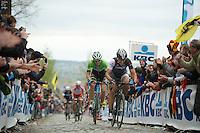 Fabian Cancellara (CHE/TrekFactoryRacing) with Sep Vanmarcke (BEL/Belkin) up the Oude Kwaremont for the 3rd & last time today<br /> <br /> Ronde van Vlaanderen 2014