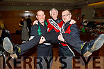"Derry Fleming gets a leg up from Martin Nix and Ken Tobin backstage at the Tralee Musical Society ""Strictly Come Dancing"" Mr and Mrs in Ballyroe Heights Hotel on Saturday."