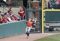 Auburn outfielder Judd Ward (1) makes a catch, Saturday, April 3, 2021 during the second inning of a baseball game at Baum-Walker Stadium in Fayetteville. Check out nwaonline.com/210404Daily/ for today's photo gallery. <br /> (NWA Democrat-Gazette/Charlie Kaijo)