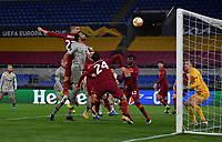 Football Soccer: Europa League -Round of 16 1nd leg AS Roma vs FC Shakhtar Donetsk, Olympic Stadium. Rome, Italy, March 11, 2021.<br /> Roma's Gianluca Mancini (L) scores during the Europa League football soccer match between Roma and  Shakhtar Donetsk at Olympic Stadium in Rome, on March 11, 2021.<br /> UPDATE IMAGES PRESS/Isabella Bonotto