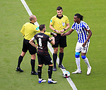 17.10.2020, OLympiastadion, Berlin, GER, DFL, 1.FBL, Hertha BSC VS. VfB Stuttgart, <br /> DFL  regulations prohibit any use of photographs as image sequences and/or quasi-video<br /> im Bild Dedryck Boyata (Hertha BSC Berlin #20), Gonzalo Castro (VfB Stuttgart #8), Schiedsrichter Harm Osmers<br /> <br />     <br /> Foto © nordphoto /  Engler