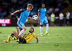 Manchester City striker Alex Zinchenko (l) fights for the ball with Borussia Dortmund midfielder Nuri Sahin (r) during the 2016 International Champions Cup China match at the Shenzhen Stadium on 28 July 2016 in Shenzhen, China. Photo by Marcio Machado / Power Sport Images