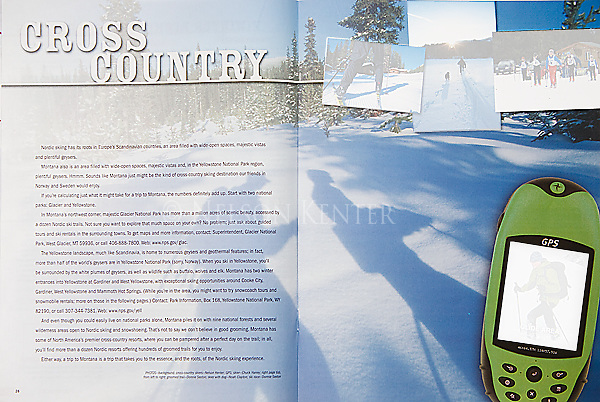 Nelson Kenter photo of shadows of skiers used in a travel planner magazine 2 page spread