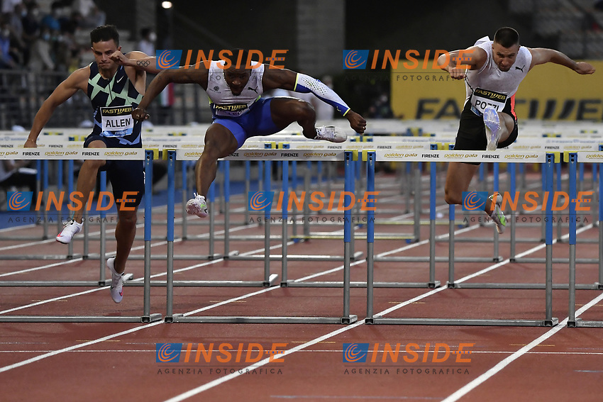 Devon Allen of United States, Omar Mcleod of Jamaica and Andrew Pozzi of Great Britain compete in the 110m hurdles Men during the Wanda  Diamond League Golden Gala meeting at the Luigi Ridolfi stadium in Florence, Italy, June 10th, 2021. Photo Andrea Staccioli / Insidefoto