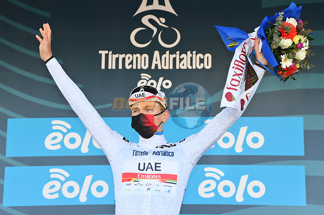 Race leader Tadej Pogacar (SLO) UAE Team Emirates also retains the young riders Maglia Bianca at the end of Stage 6 of Tirreno-Adriatico Eolo 2021, running 169km from Castelraimondo to Lido di Fermo, Italy. 15th March 2021. <br /> Photo: LaPresse/Gian Mattia D'Alberto | Cyclefile<br /> <br /> All photos usage must carry mandatory copyright credit (© Cyclefile | LaPresse/Gian Mattia D'Alberto)