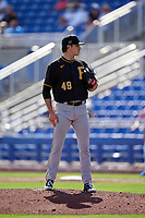 Pittsburgh Pirates pitcher Blake Cederlind (49) during a Major League Spring Training game against the Toronto Blue Jays on March 1, 2021 at TD Ballpark in Dunedin, Florida.  (Mike Janes/Four Seam Images)