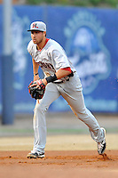 Hickory Crawdads third baseman Joey Gallo #30 warms up between innings during a game against the Asheville Tourists at McCormick Field on April 15, 2013 in Asheville, North Carolina. The Crawdads won the game 6-3. (Tony Farlow/Four Seam Images via AP Images).