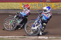 Heat 9: Lewis Bridger (red) and Piotr Swiderski (blue) - Vortex Lakeside Hammers vs Kings Lynn Stars - Sky Sports Elite League Speedway at Arena Essex Raceway, Purfleet - 23/04/13 - MANDATORY CREDIT: Gavin Ellis/TGSPHOTO - Self billing applies where appropriate - 0845 094 6026 - contact@tgsphoto.co.uk - NO UNPAID USE.