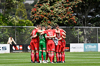 Canterbury United team Huddle during the ISPS Handa Men's Premiership - Team Wellington v Canterbury Utd at David Farrington Park, Wellington on Saturday 19 December 2020.<br /> Copyright photo: Masanori Udagawa /  www.photosport.nz