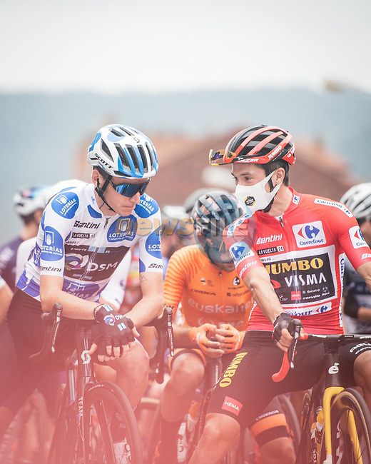 Polka Dot Jersey Romain Bardet (FRA) Team DSM and Red Jersey Primoz Roglic (SLO) Jumbo-Visma line up for the start of Stage 18 of La Vuelta d'Espana 2021, running 162.6km from Salas to Alto del Gamoniteiru, Spain. 2nd September 2021.   <br /> Picture: Unipublic/Charly Lopez | Cyclefile<br /> <br /> All photos usage must carry mandatory copyright credit (© Cyclefile | Charly Lopez/Unipublic)