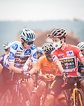 Polka Dot Jersey Romain Bardet (FRA) Team DSM and Red Jersey Primoz Roglic (SLO) Jumbo-Visma line up for the start of Stage 18 of La Vuelta d'Espana 2021, running 162.6km from Salas to Alto del Gamoniteiru, Spain. 2nd September 2021.   <br /> Picture: Unipublic/Charly Lopez   Cyclefile<br /> <br /> All photos usage must carry mandatory copyright credit (© Cyclefile   Charly Lopez/Unipublic)