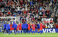 Saint Paul, MN - SEPTEMBER 03: The USWNT celebrate during their 2019 Victory Tour match versus Portugal at Allianz Field, on September 03, 2019 in Saint Paul, Minnesota.