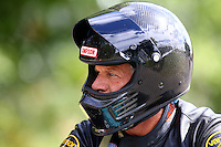 Aug 20, 2016; Brainerd, MN, USA; NHRA pro stock motorcycle rider Jerry Savoie during qualifying for the Lucas Oil Nationals at Brainerd International Raceway. Mandatory Credit: Mark J. Rebilas-USA TODAY Sports