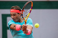 9th October 2020, Roland Garros, Paris, France; French Open tennis, Roland Garr2020;  Rafael NADAL ESP hits a return during his match against Diego SCHWARTZMAN ARG