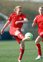 Becky Sauerbrunn #22 of the Washington Freedom boots the ball up field  against the Philadelphia Independence during a WPS pre season match at the Maryland Soccerplex on March 27 2010 in Boyds, Maryland. The game ended in a 0-0 tie.