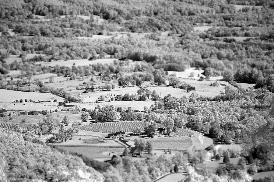 View of Afton landscape from I-64 overlook in Nelson County, VA.