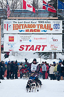 Bob Bundtzen team leaves the start line during the restart day of Iditarod 2009 in Willow, Alaska