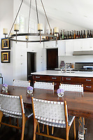 open plan kitchen and dining table