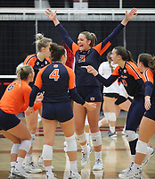 Auburn Senior Tatum Shipes (21) celebrates winning second set against Arkansas  on Sunday, Oct. 10, 2021, during play at Barnhill Arena, Fayetteville. Visit nwaonline.com/211011Daily/ for today's photo gallery.<br /> (Special to the NWA Democrat-Gazette/David Beach)